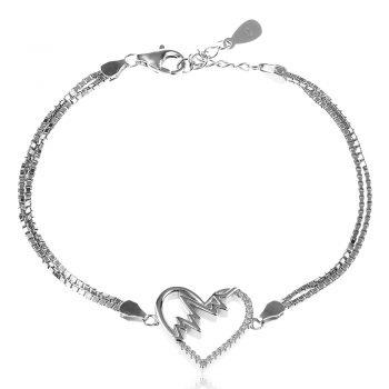 сребърна гривна, сърце с кардиограма, цирконии, родиево покритие