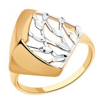елегантен сребърен пръстен, без камък, розова позлата, sokolov,
