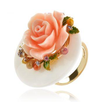 атрактивен сребърен пръстен, жълта позлата, пресован корал, бял оникс, цирконий, цвете, роза, ganezzi,