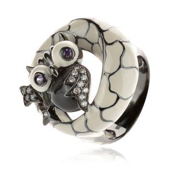 сребърен пръстен сова GANEZZI