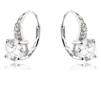 елегантни сребърни обеци, цирконий, родиево покритие