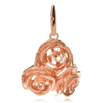 елегантен сребърен комплект, розова позлата, рози, Ganezzi