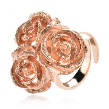 елегантен сребърен пръстен, розова позлата, рози, Ganezzi