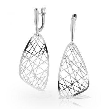 нежни сребърни обеци, висящи, без камък, родиево покритие, Alfa