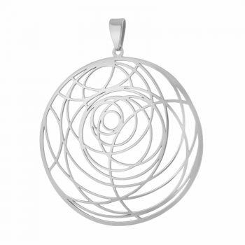 сребърен медальон, кръгове, без камък, родиево покритие, алфа