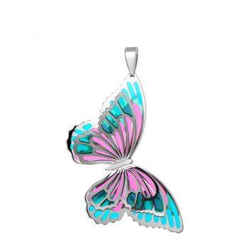 атрактивен сребърен медальон, пеперуда, 3D ефект, цветен емайл, родиево покритие, Alfa