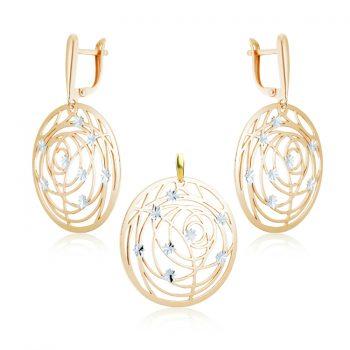 елегантен сребърен комплект, без камък, кръгове, розова позлата, алфа карат,