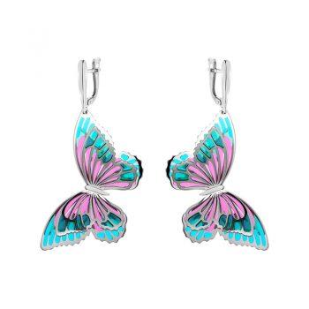 атрактивни сребърни обеци, Пеперуди, 3D ефект, цветен емайл, родиево покритие, Alfa