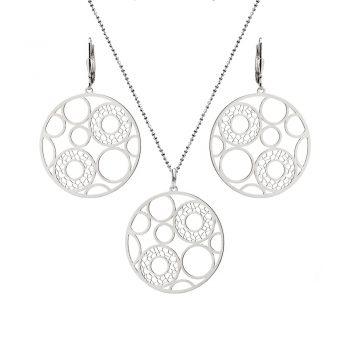 елегантен сребърен комплект, кръгове, без камък, родиево покритие, Alfa