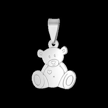 сребърен медальон, подходящ за дете, мече, без камък, родиево покритие, alfa,