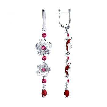 сребърни обеци, висящи обеци, цветя, рубин-корунд, емайл, родиево покритие, Sokolov