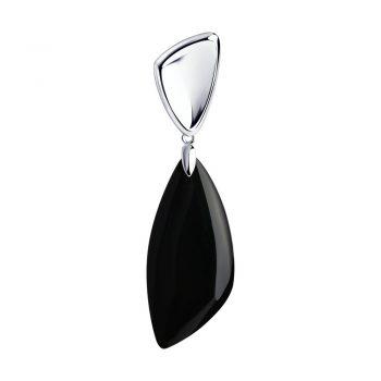 елегантен сребърен медальон, черен ахат, родиево покритие, Sokolov