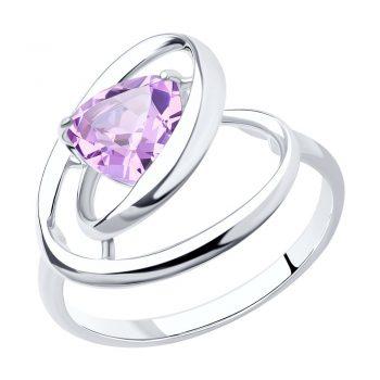 елегантен сребърен пръстен, аметист-ситал, родиево покритие, Sokolov