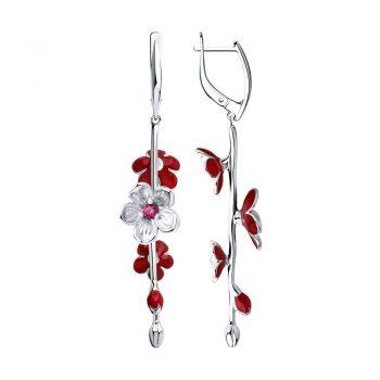 сребърни обеци, висящи обеци, рубин-корунд, емайл, цветя, 3D ефект, родиево покритие, Sokolov