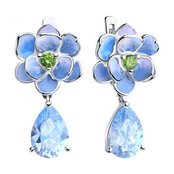 сребърни обеци, висящи обеци, цвете, син цирконий, цветен емайл, Sokolov