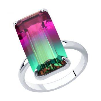 елегантен сребърен пръстен, ситал цвят хамелеон, правоъгълна форма, родиево покритие, sokolov,