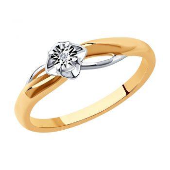 сребърен пръстен, диамант, розова позлата, тип годежен, Sokolov