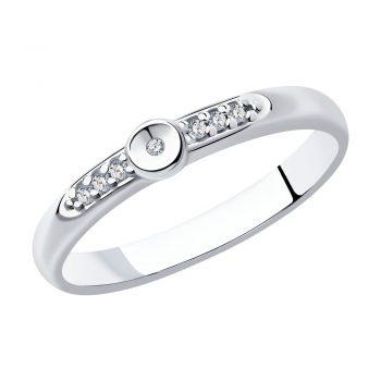 сребърен пръстен, диамант, цирконий, родиево покритие, sokolov