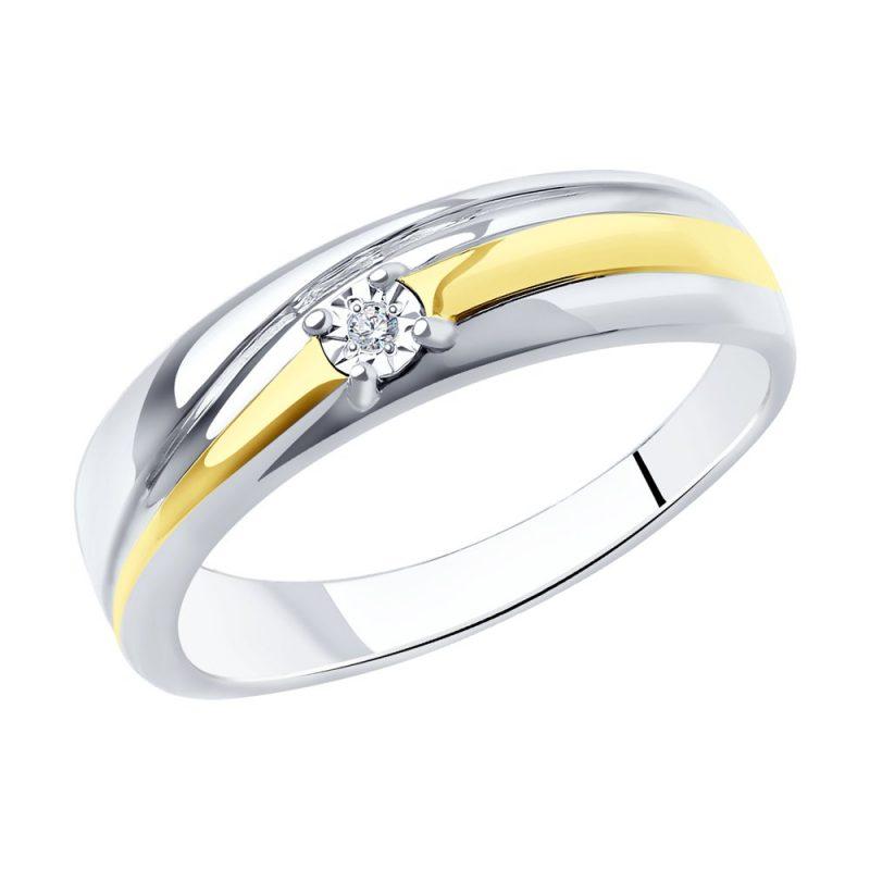 сребърен пръстен, тип халка, диамант, родиево покритие, жълта позлата, sokolov,