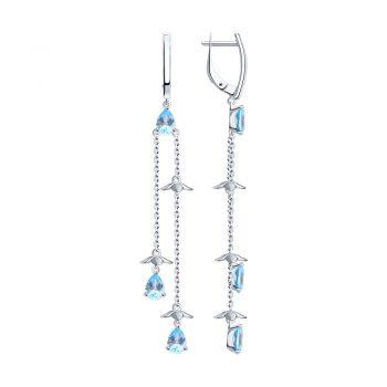 елегантни сребърни обеци, висящи обеци, син топаз, родиево покритие, подходящи за повод, Sokolov