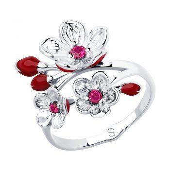 сребърен пръстен, цветя, рубин-корунд, емайл, родиево покритие, Sokolov