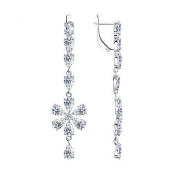 сребърни обеци, висящи, цвете, цирконий, родиево покритие, подходящи за повод, Sokolov