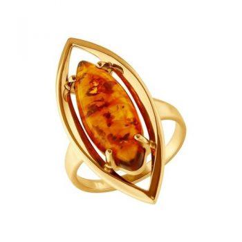 сребърен пръстен, кехлибар, бадем, бадем, розова позлата, Sokolov