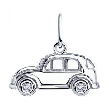 сребърен медальон, кола, подходящ за дете, за момченце, цирконий, родиево покритие, Sokolov