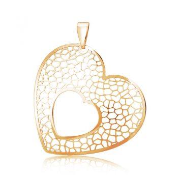 сребърен медальон, сърца, без камък, розова позлата, Alfa