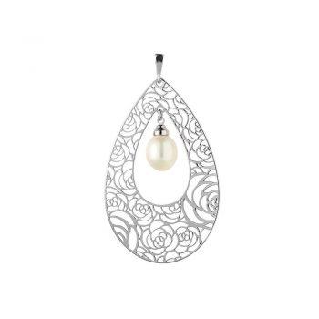 сребърен медальон, бяла перла, стилизирани цветя, родиево покритие, alfa,