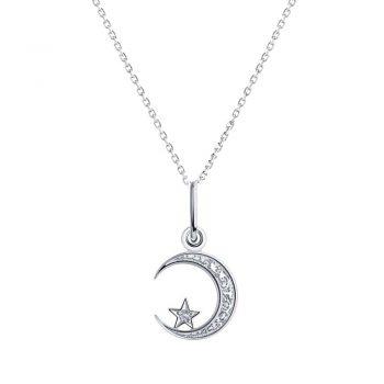 нежно сребърно колие, луна и звезда, цирконий, родиево покритие, Sokolov