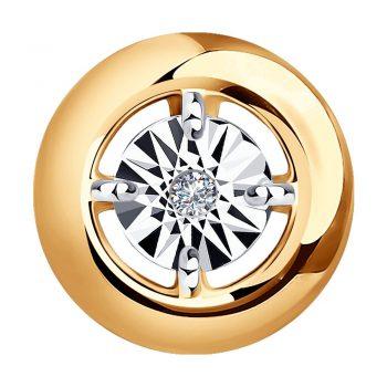 сребърен медальон, диамант, розова позлата, Sokolov