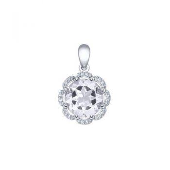 сребърен медальон, планински кристал, цирконий, родиево покритие, Sokolov