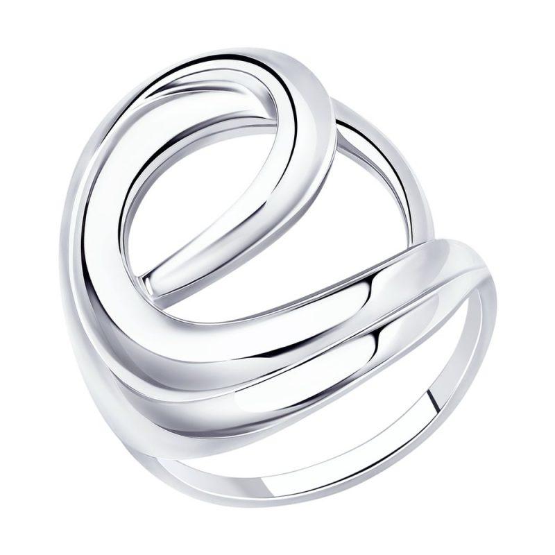елегантен сребърен пръстен, без камък, родиево покритие, Sokolov
