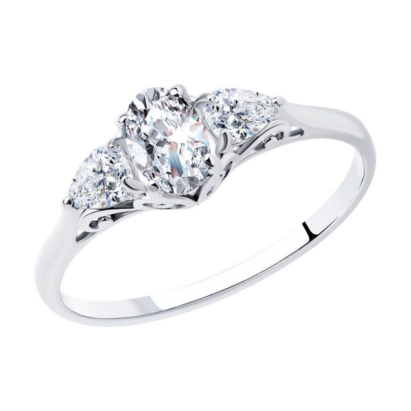 сребърен пръстен, тип годежен, цирконий, родиево покритие, Sokolov