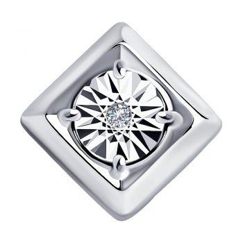сребърен медальон, квадратна форма, диамант, родиево покритие, Sokolov