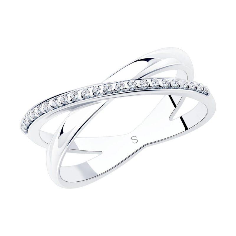 сребърен пръстен, пръстен тип халка, цирконий, родиево покритие, Sokolov
