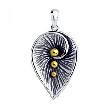 атрактивен сребърен медальон, без камък, оксидирано сребро, жълта позлата, Sokolov