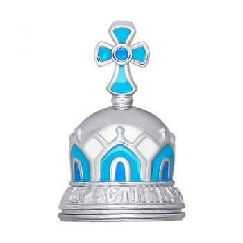 сребърна камбанка, сребърна камбанка за дете, кръщене, емайл, Sokolov
