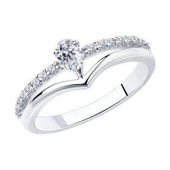 нежен сребърен пръстен, цирконий, родиево покритие, Sokolov
