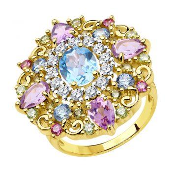 елегантен сребърен пръстен, цветен цирконии, жълта позлата, подходящ за повод, Sokolov