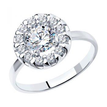 елегантен сребърен пръстен, CZ Swarovski, родиево покритие, Sokolov