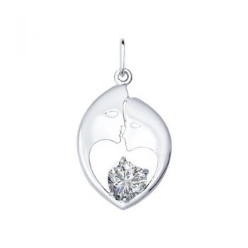 сребърен медальон, сърце, луна, цирконий, родиево покритие, Sokolov