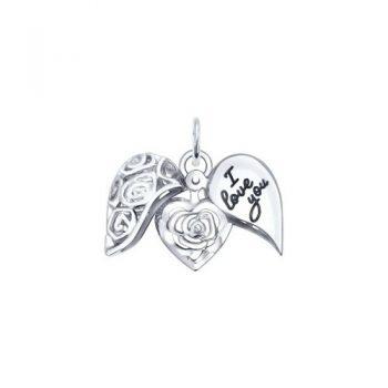 сребърен медальон, сърце, цвете, отварящ се медальон, родиево покритие, Sokolov