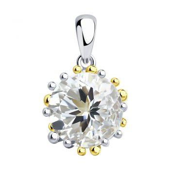 сребърен медальон, планински кристал, родиево покритие, жълта позлата, Sokolov