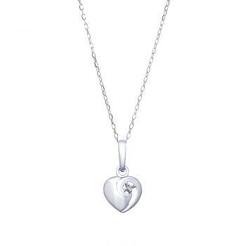 сребърно колие сърце с диамант