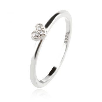 нежен сребърен пръстен, сърце, цирконий, родиево покритие,