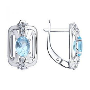 нежни сребърни обеци, син топаз, цирконий, родиево покритие, Sokolov