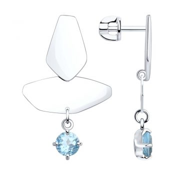 елегантни сребърни обеци, син топаз, родиево покритие, висящи обеци, Sokolov