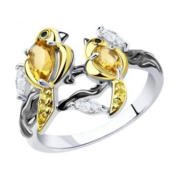 атрактивен сребърен пръстен, птиче, цитрин, цирконий, покритие от рутений и позлата, Sokolov